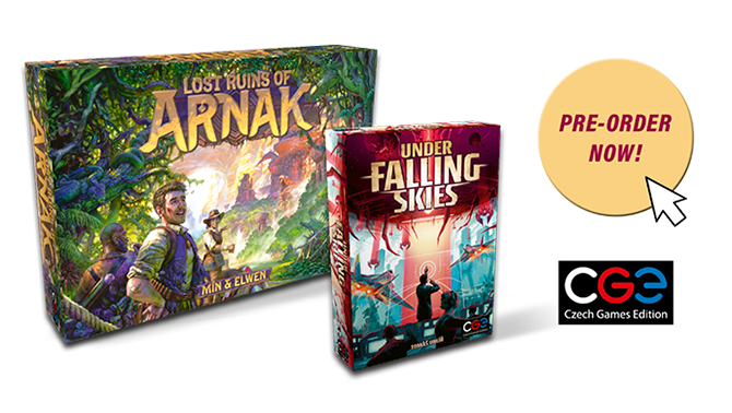 We opened pre-orders for Lost Ruins of Arnak and Under Falling Skies.